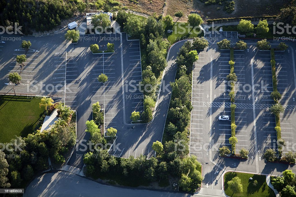 Ariel view of parking lot stock photo