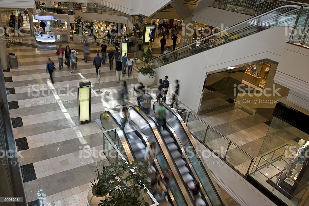 Ariel view of people walking around a mall royalty-free stock photo