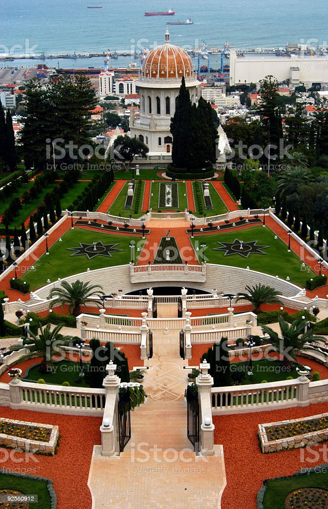 Ariel view of the grounds at Baha'i Temple  stock photo