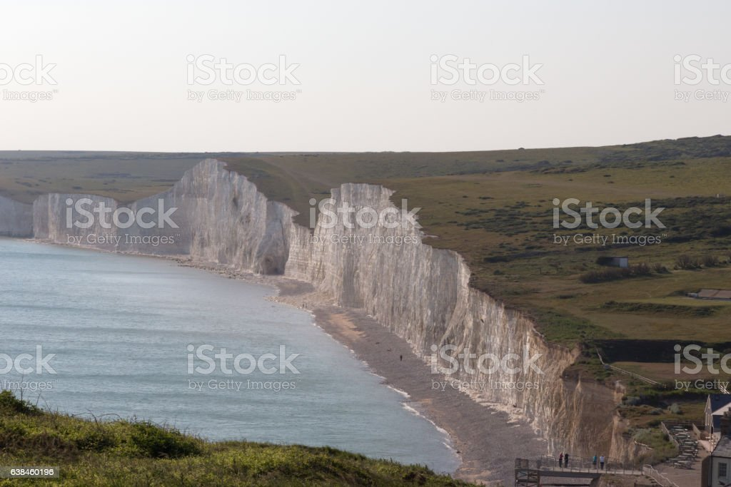 Ariel view of the Seven Sisters chalk cliffs in Sussex. stock photo