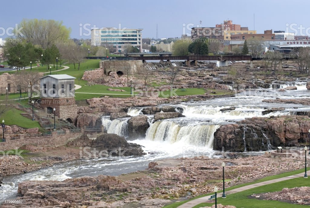 Ariel view of the Sioux Falls in South Dakota with scenery stock photo
