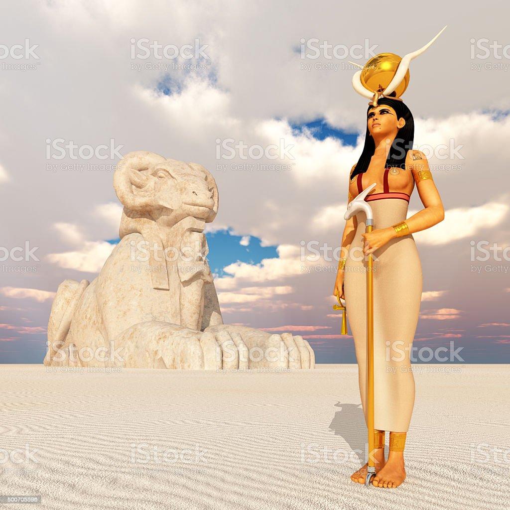 Aries sphinx and the goddess Hathor stock photo