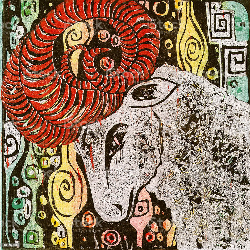 Aries: Zodiac Woodblock Print Series stock photo