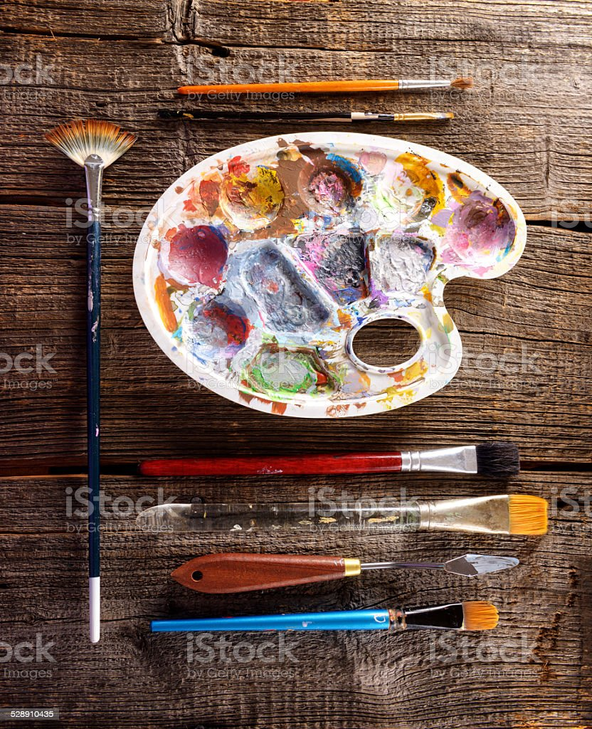 Aristic paints and brushes stock photo