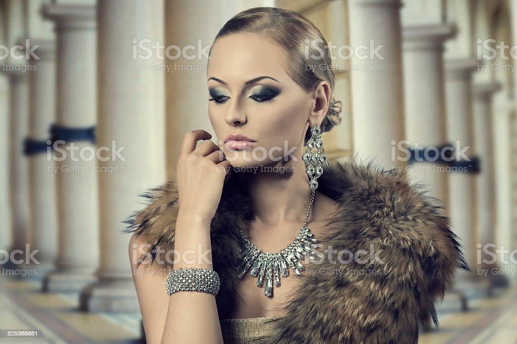 aristocratic sensual fashion woman stock photo