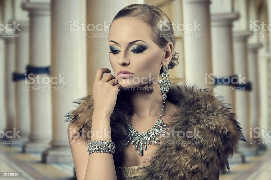 aristocratic sensual fashion woman stock photo