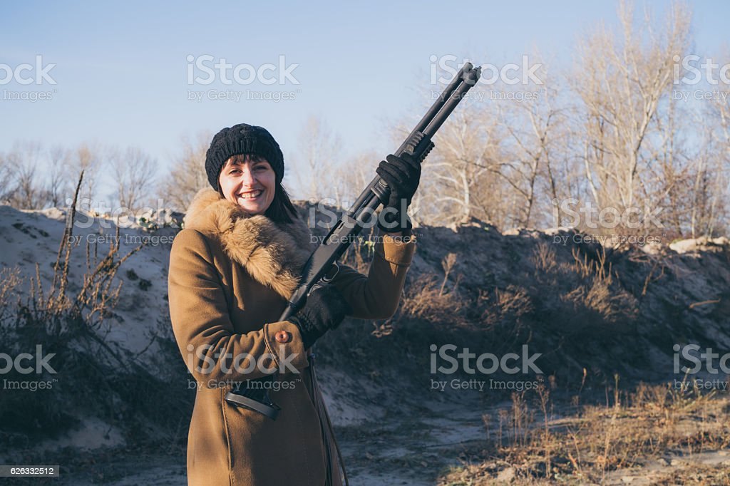 Aristocratic woman on the hunt stock photo