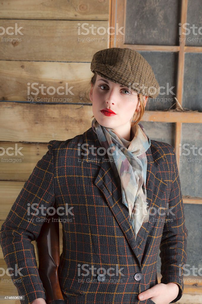 Aristocratic Young Lady Dressed For The Country stock photo