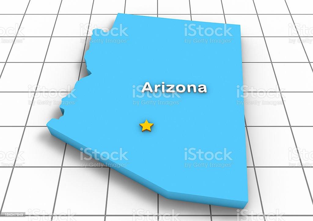 Arizona 3D State Map stock photo