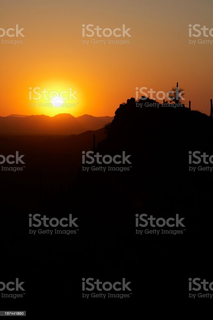 Arizona desert sunset stock photo