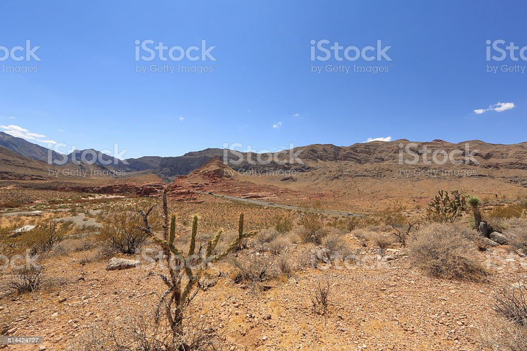 Arizona Desert with Veteran's Memorial Highway stock photo