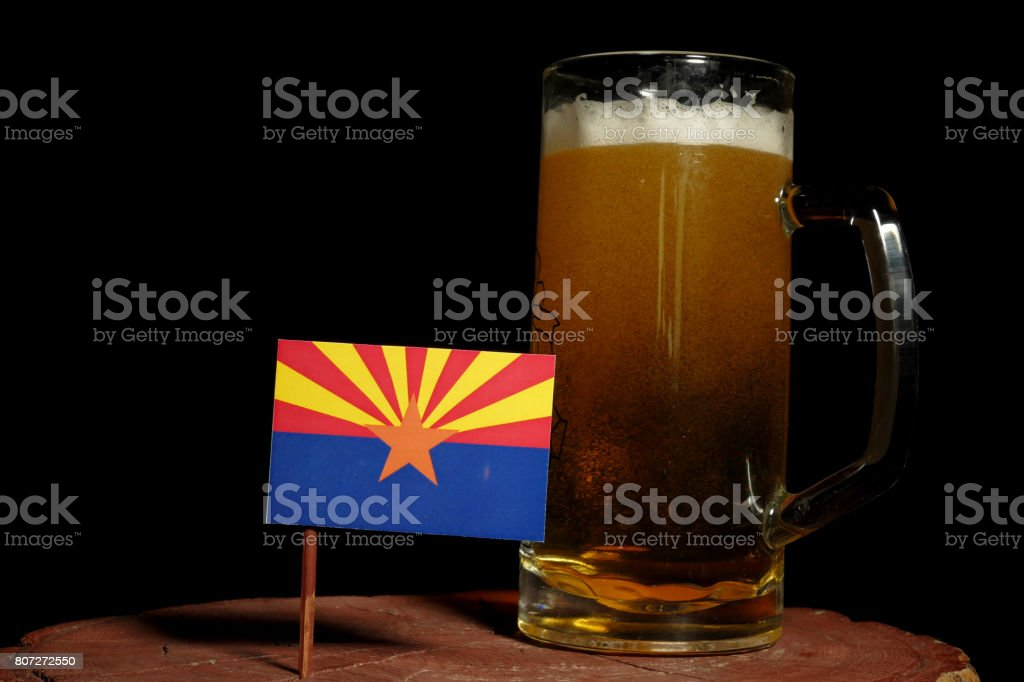 Arizona flag with beer mug isolated on black background stock photo