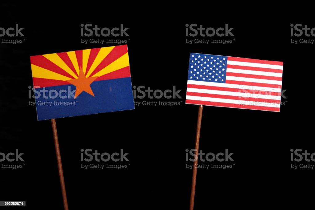 Arizona flag with USA flag isolated on black background stock photo