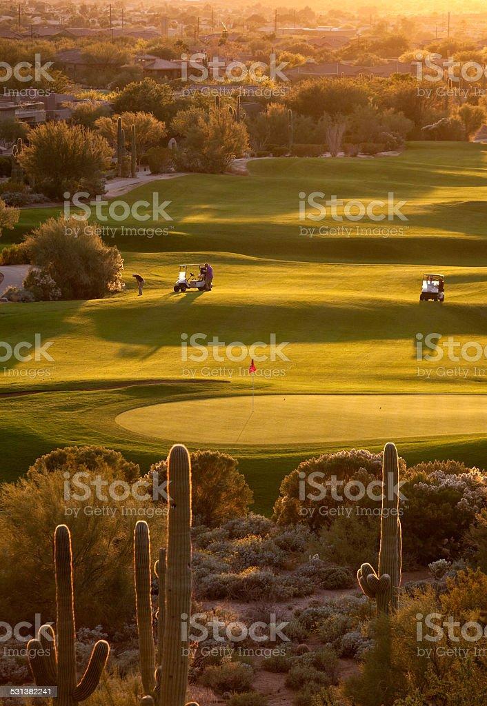 Arizona Golfers on the Fairway stock photo