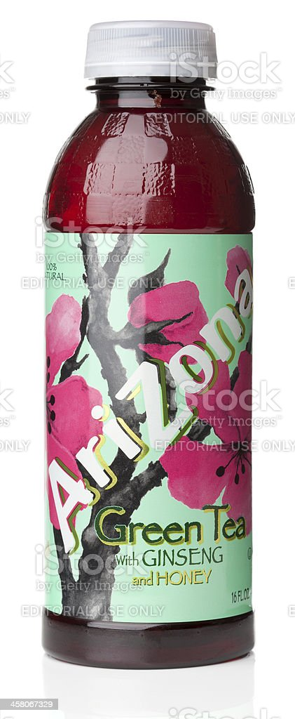 AriZona Green Tea with Ginseng and Honey stock photo