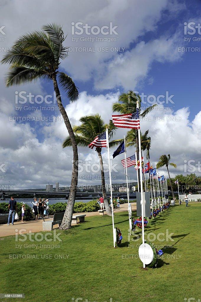 USS Arizona Memorial Center Flag display area stock photo