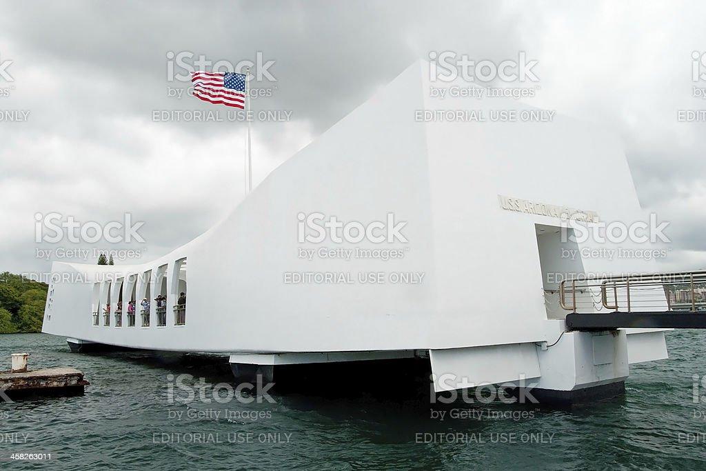 USS Arizona Memorial in Pearl Harbor, Honolulu Hawaii stock photo
