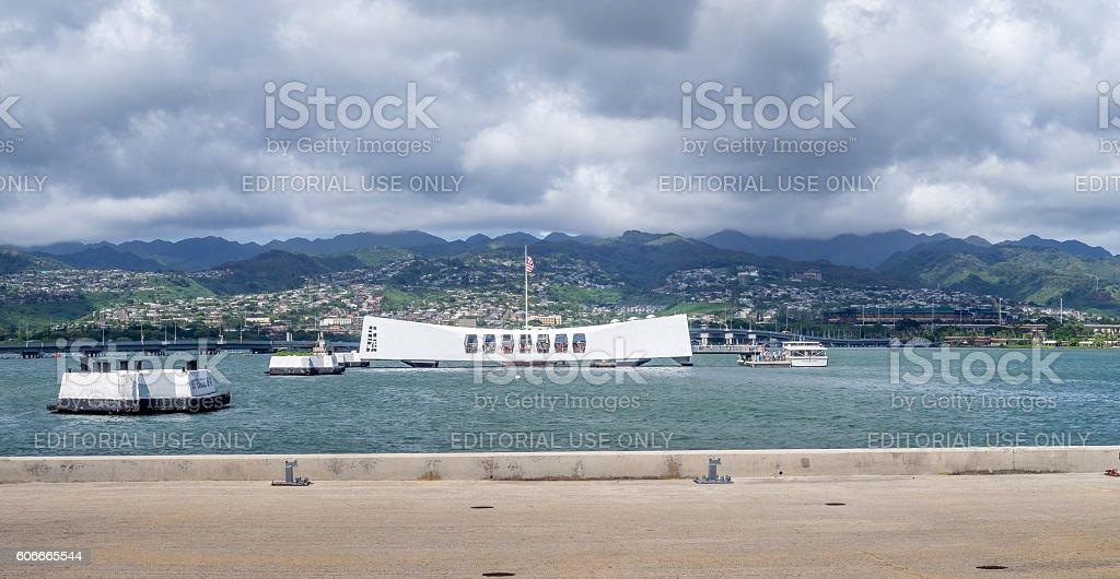 USS Arizona Memorial in Pearl Harbor stock photo