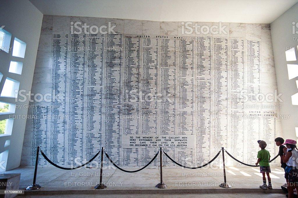 USS Arizona Memorial, interior stock photo