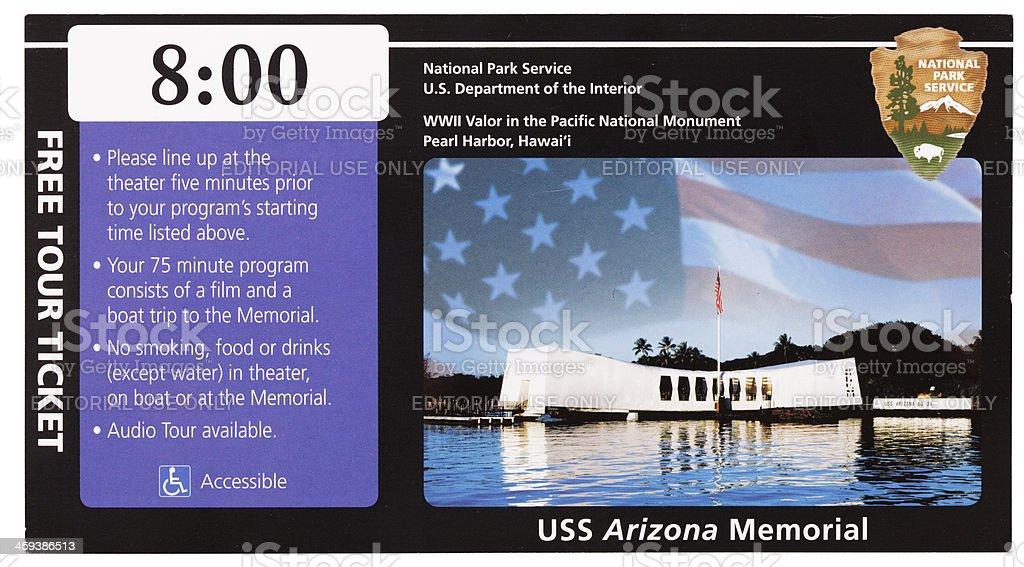 USS Arizona Memorial ticket stub stock photo