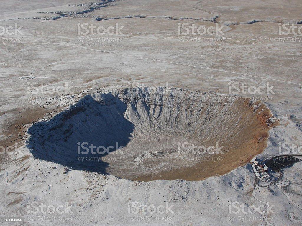 Arizona Meteor Crater near Flagstaff, AZ, from air, winter stock photo