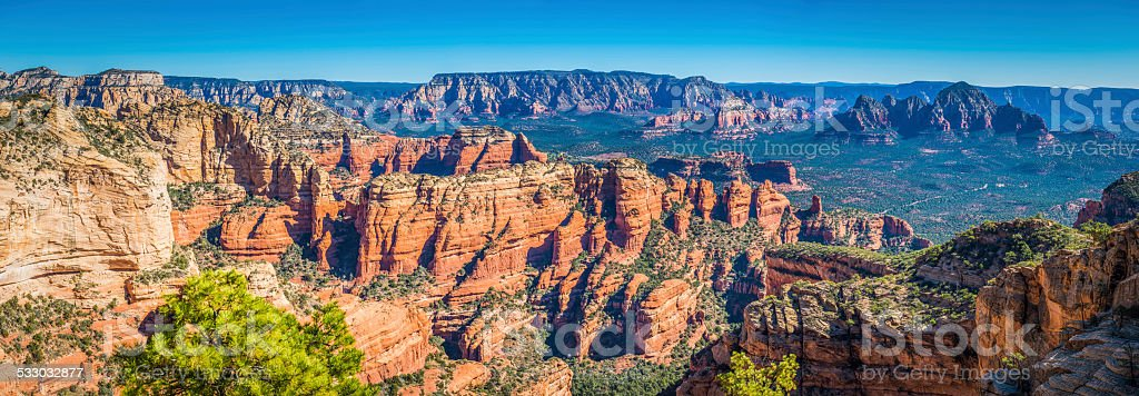 Arizona red rock country panoramic view over Sedona mesa USA stock photo