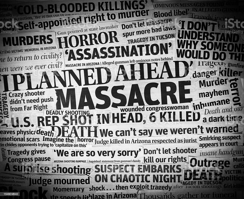 Arizona Shooting headlines Collage stock photo