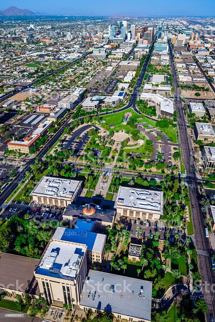 Arizona State Capitol Building, panoramic cityscape skyline, Phoenix, aerial view stock photo