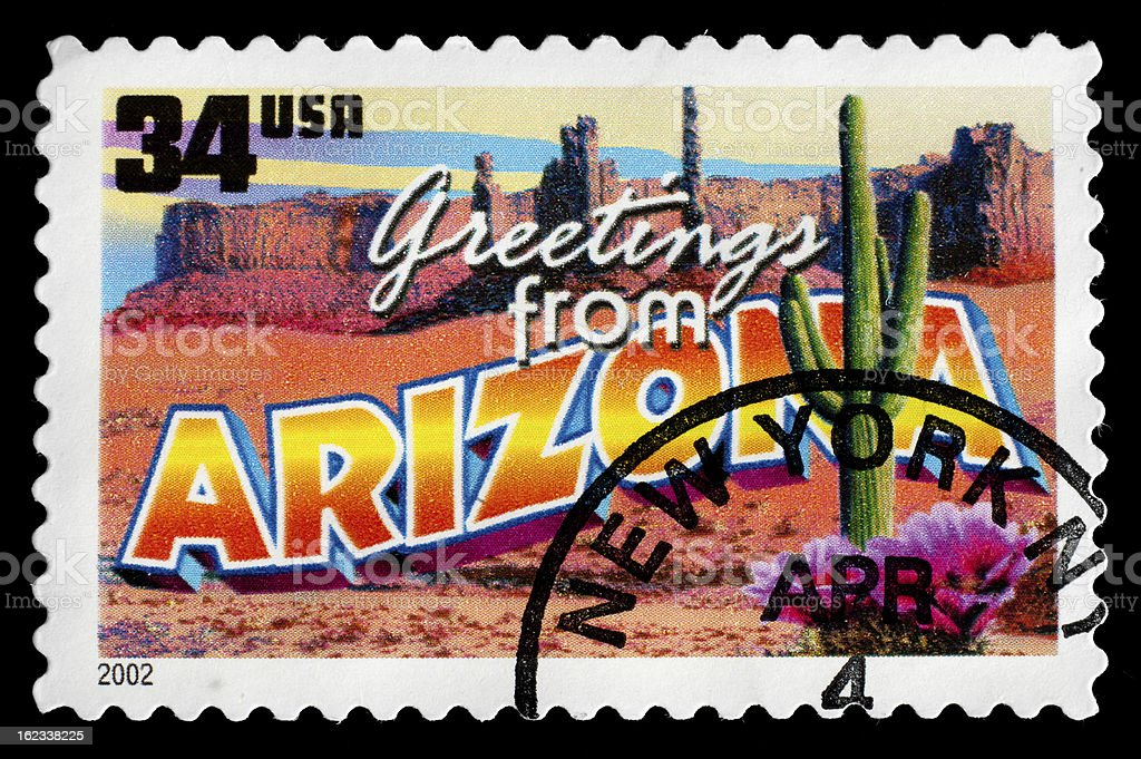 Arizona State Postage Stamp 'Greetings From America' Retro Postcard Theme royalty-free stock photo