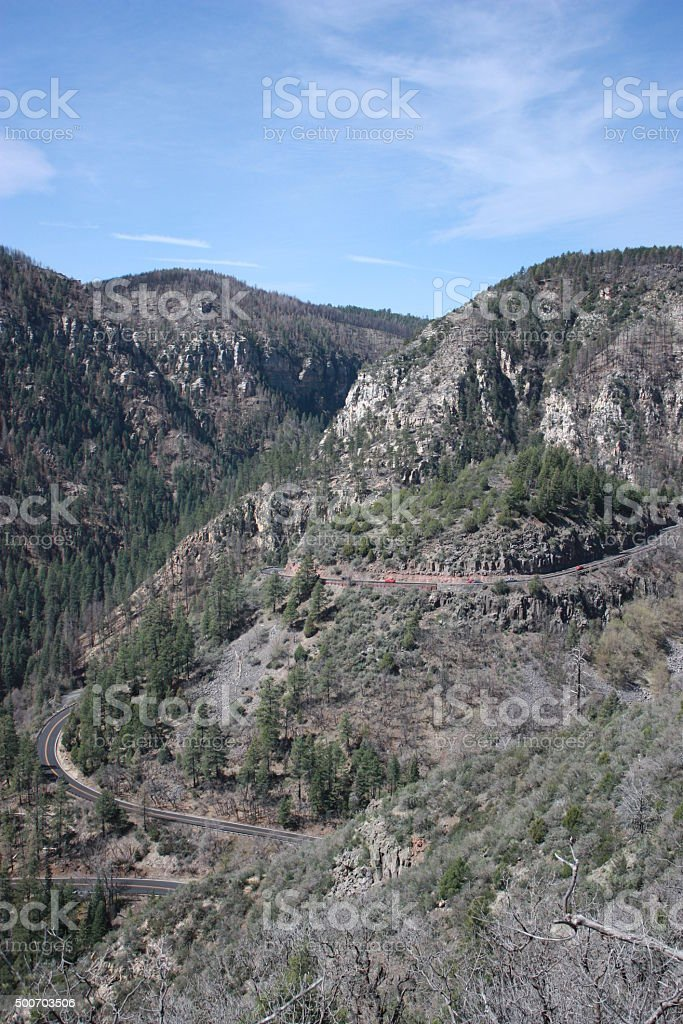 Arizona State Route 89A between Flagstaff and Sedona, Arizona stock photo