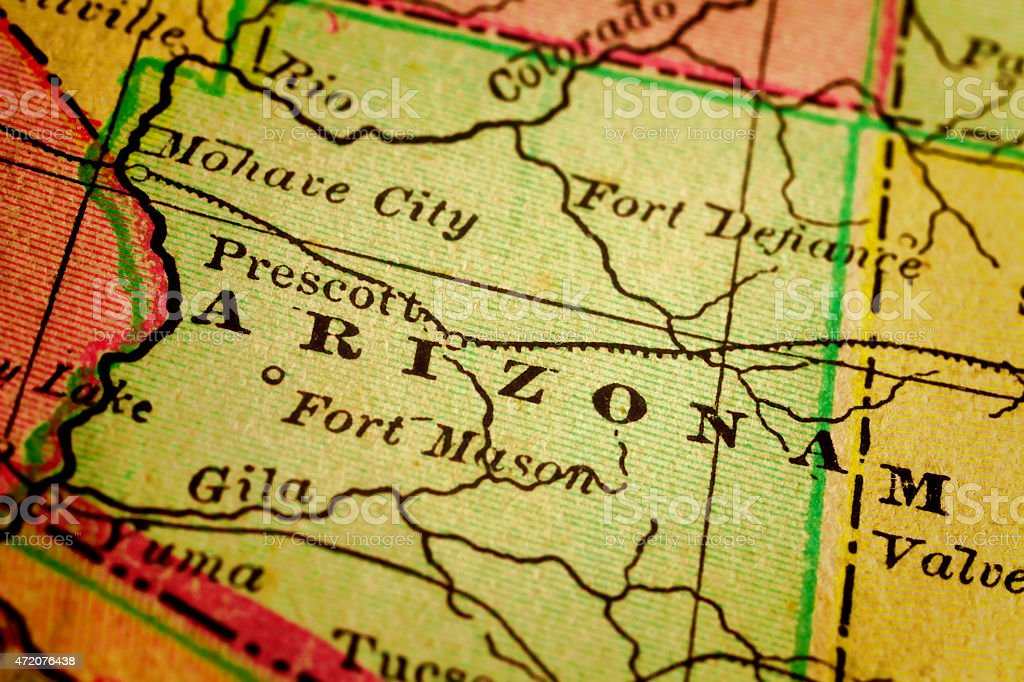 Arizona State, USA on an Antique map stock photo