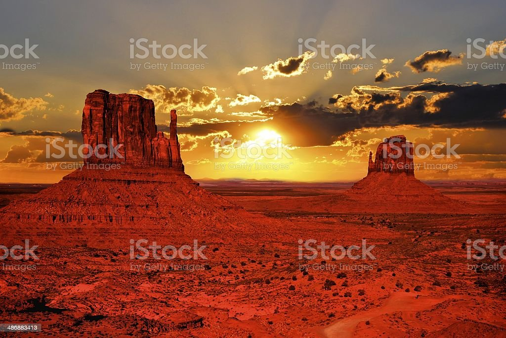Arizona sunrise at Monument Valley, USA stock photo