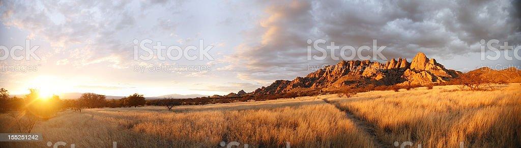 Arizona Sunset Panorama stock photo