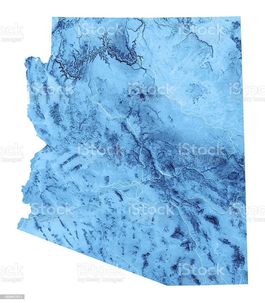Arizona Topographic Map Isolated stock photo