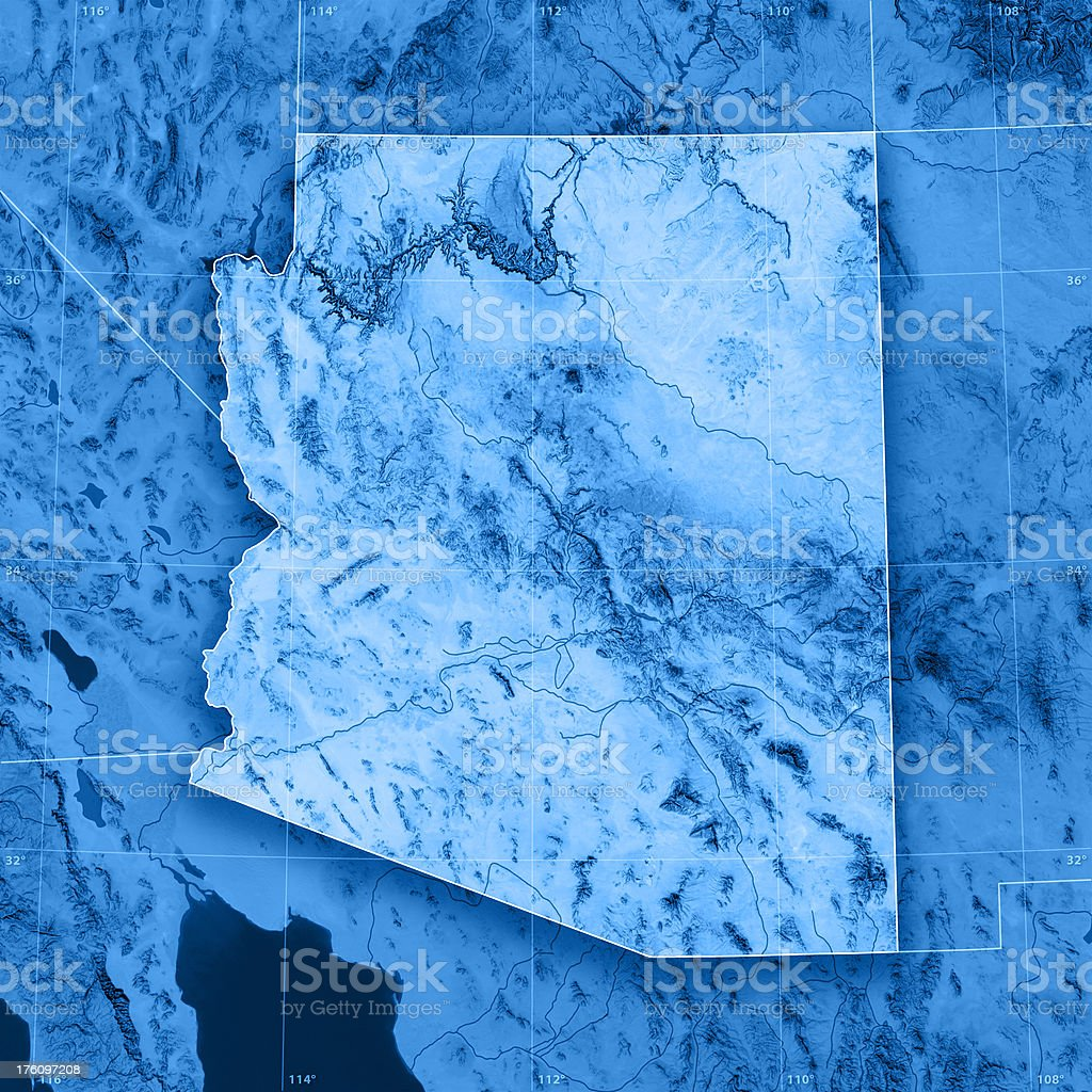 Arizona Topographic Map stock photo