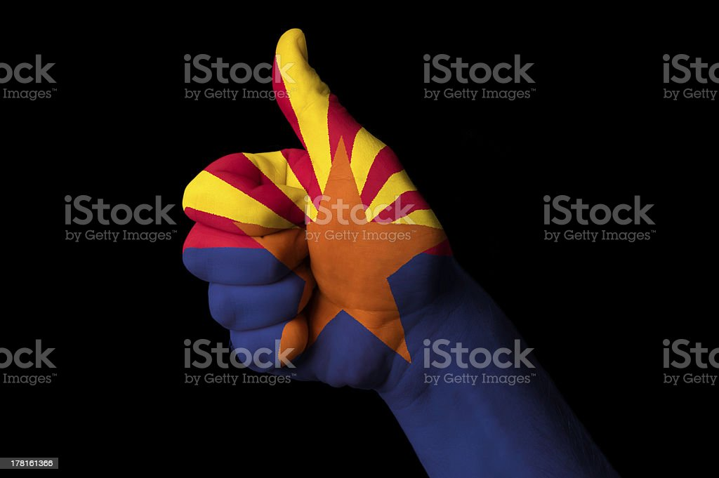 arizona us state flag thumb up gesture for excellence royalty-free stock photo