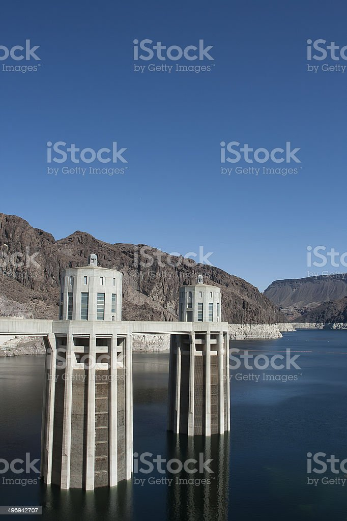 Arizona-side Penstock Towers at Hoover Dam royalty-free stock photo