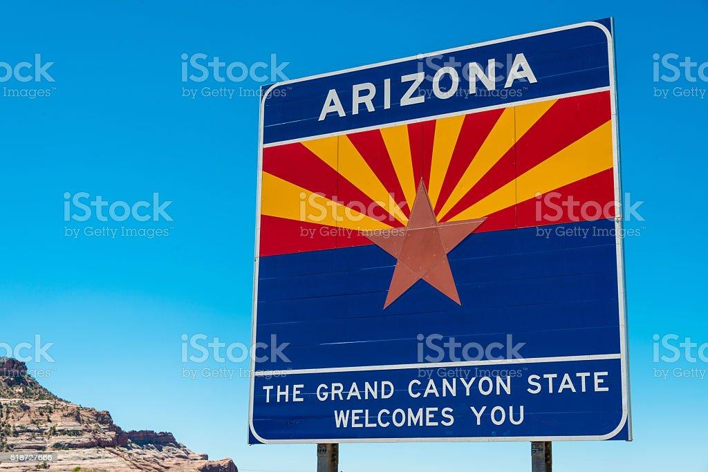 Arizone state border highway sign stock photo