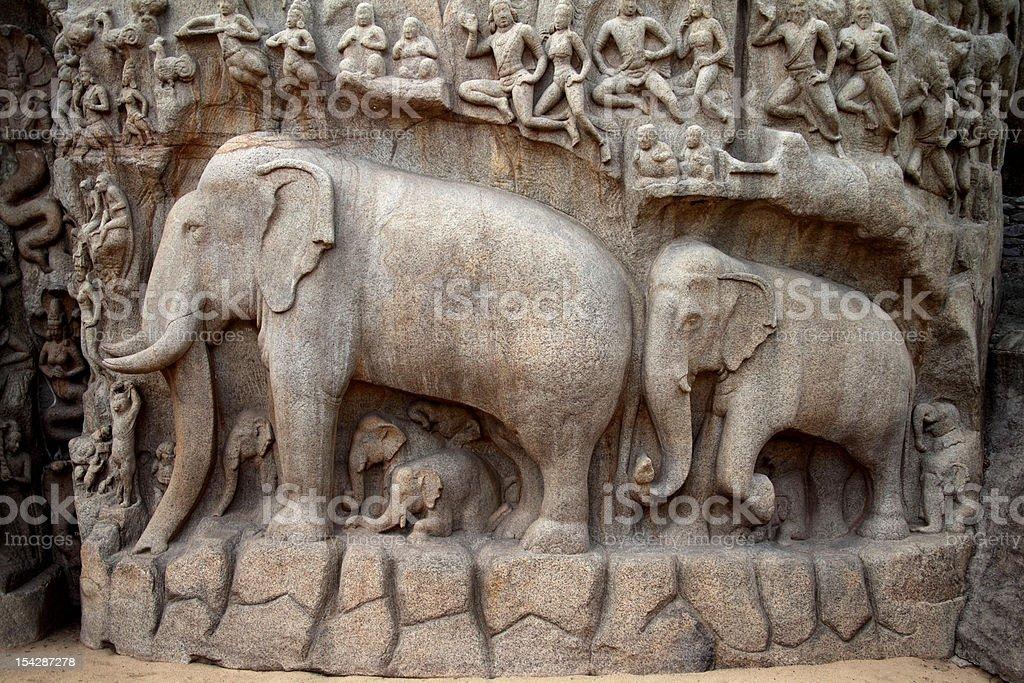 Arjuna's Penance Bas-relief in Mahabalipuram stock photo