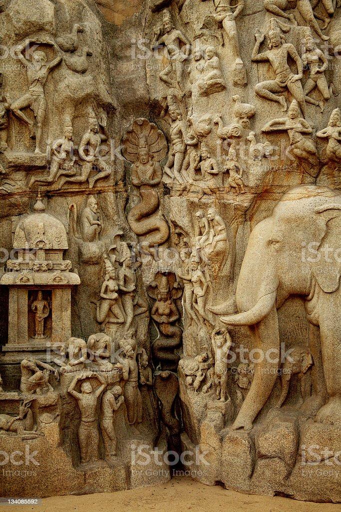 Arjuna's Penance  Bas-relief, Mahabalipuram, India stock photo