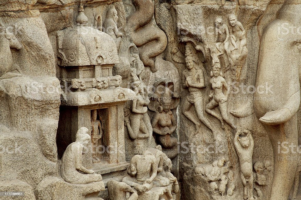 Arjuna's Penance - Descent of the Ganges, Mahabalipuram, India royalty-free stock photo
