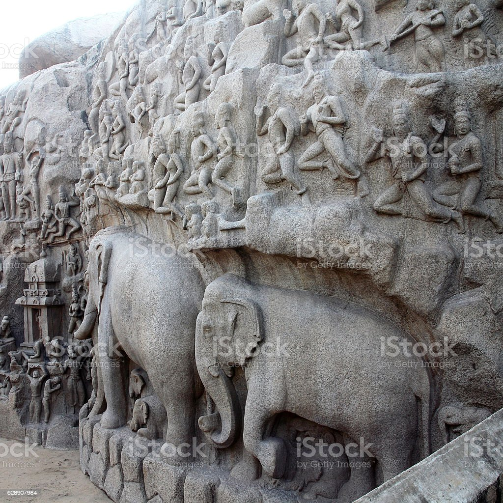 Arjuna's Penance - Descent of the Ganges, Mahabalipuram, India stock photo