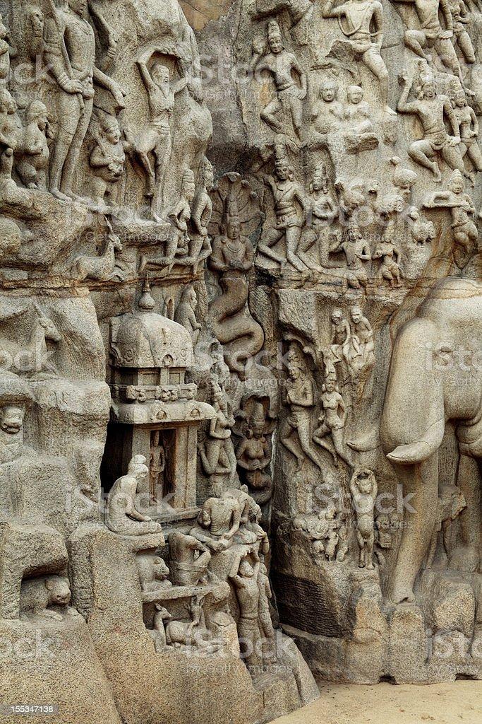 Arjuna's Penance - Descent of the Ganges stock photo