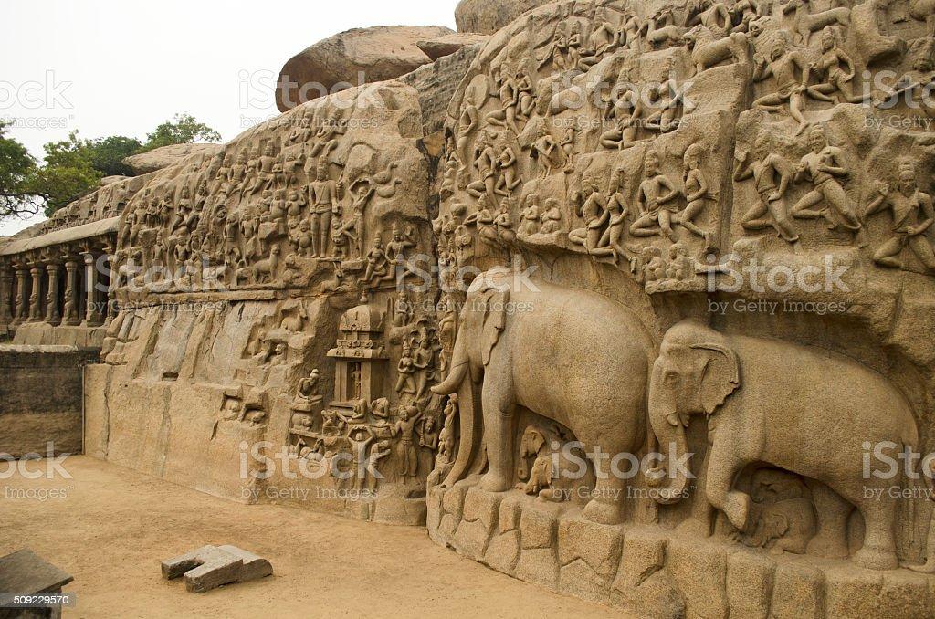 Arjuna's Penance, Mahabalipuram, India, Asia stock photo