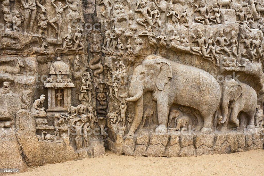Arjuna's Penance Monolith stock photo