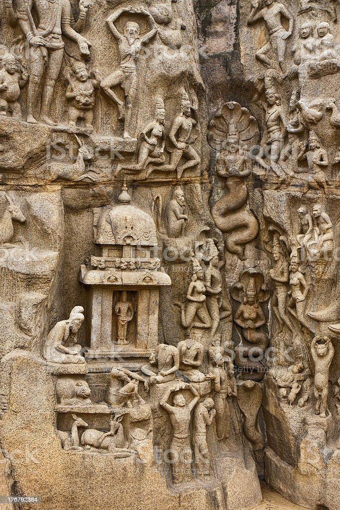 Arjuna's Penance Monument stock photo