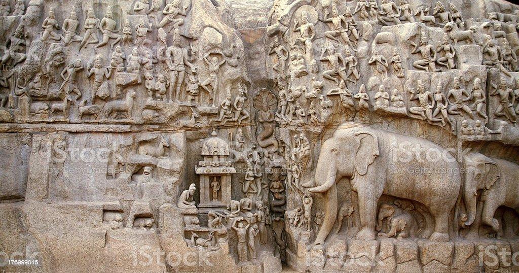 Arjuna's Penance,Mamallapuram,India stock photo
