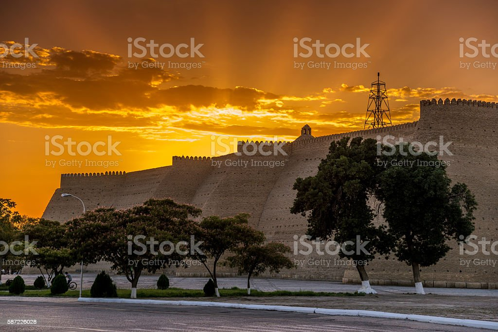 Ark Fortress in Bukhara at sunset stock photo