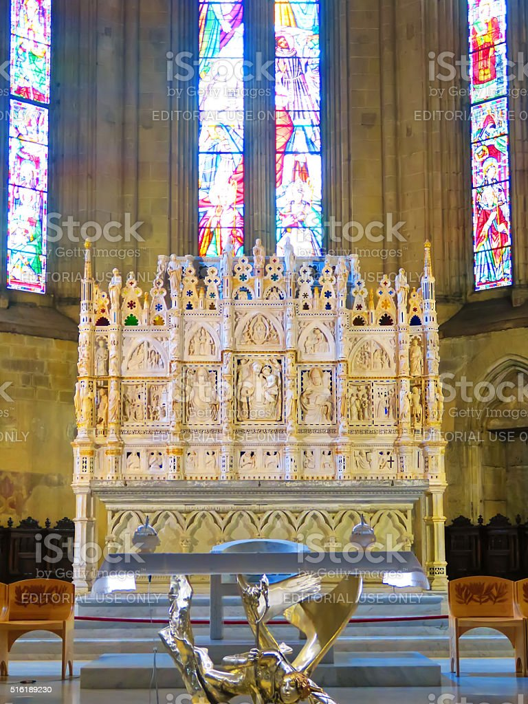 Ark of St. Donato in the Cathedral of Arezzo,Italy stock photo