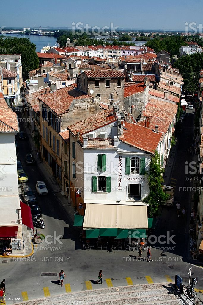 Aerial townscape of the town of Arles, southern France; La Brasserie...